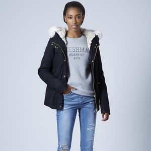 Topshop Faux Fur Lined Navy Parka Winter Jacket